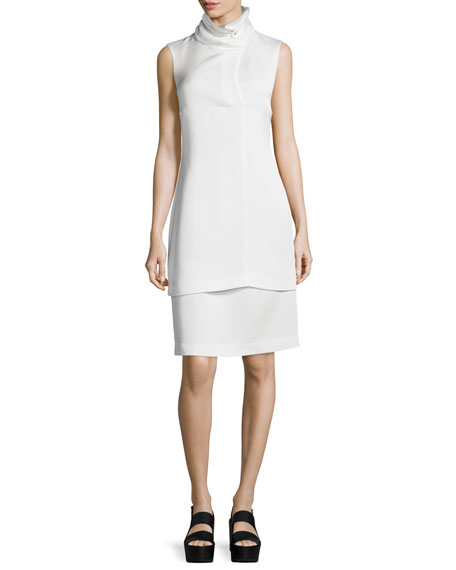 Oris Funnel-Neck Sheath Dress, White