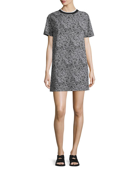 Cabbage-Print T-Shirt Dress, Black/Multi