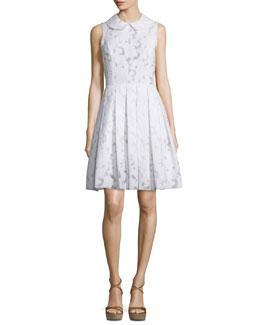 Sleeveless Peter Pan Jacquard Dance Dress, Optic White