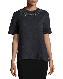 Short-Sleeve Embellished-Neck Sweater, Charcoal