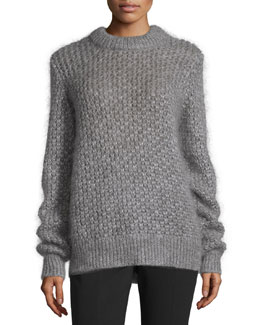 Long-Sleeve Seed-Stitch Sweater, Thistle
