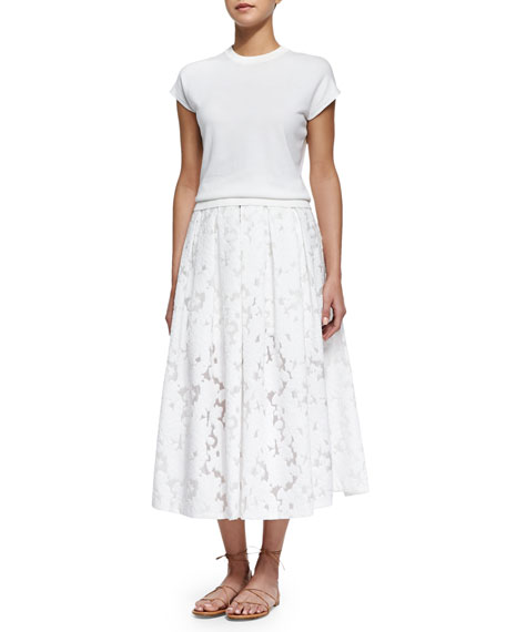 Floral Fil Coupe Midi Skirt, Optic White