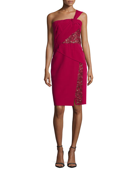 One-Shoulder Lace-Inset Dress, Ruby
