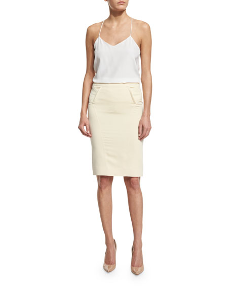 Mid-Rise Pencil Skirt, Cream
