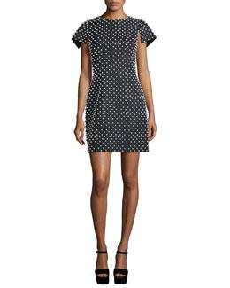 Pearl-Embellished Short-Sleeve Sheath Dress, Black