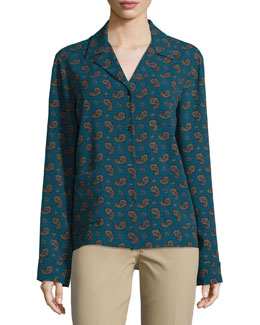Button-Front Paisley Pajama Top, Peacock/Multi