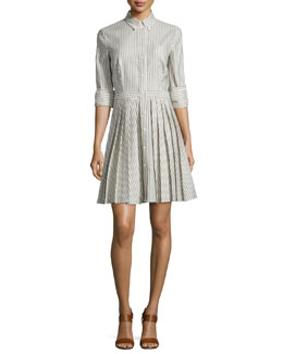 Button-Front Double-Cuff Shirtdress, Indigo/White