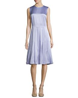 Sleeveless Godet-Pleated Dress, Thistle