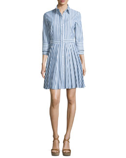 Button-Front Double-Cuff Shirtdress, Indigo/White