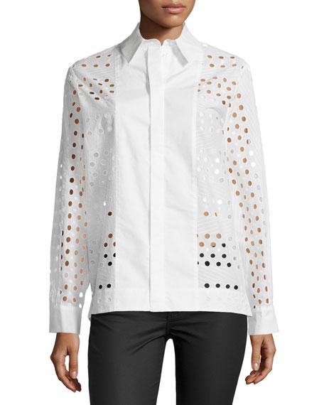 Long-Sleeve Eyelet Dress Shirt, White