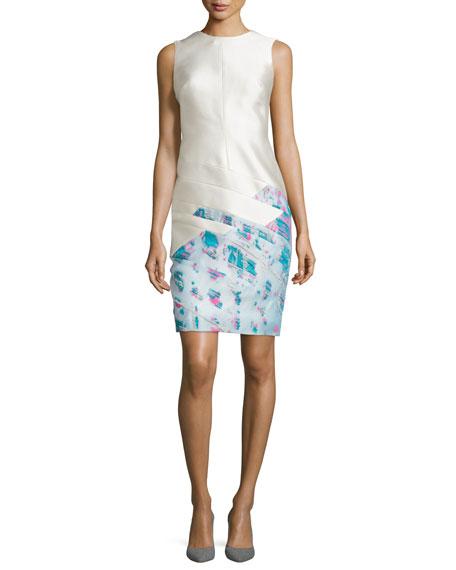 Sleeveless Scuba Sheath Dress, Ivoire/Fuchsia