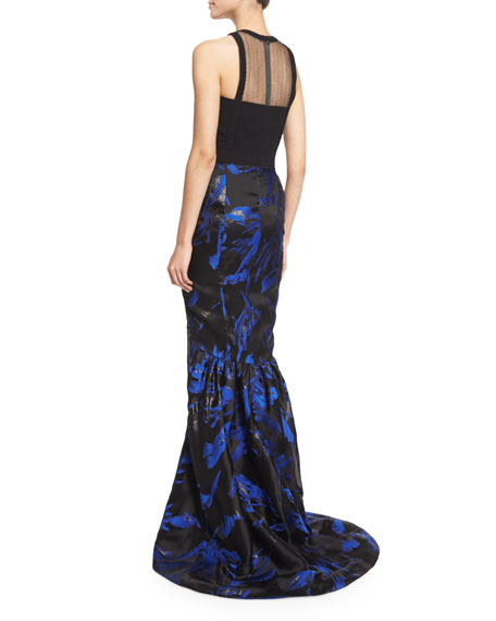 Halter-Neck Two-Tone Gown, Blue/Noir