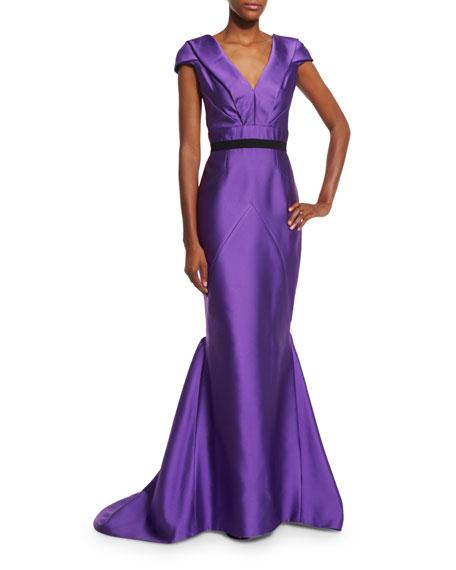 Cap-Sleeve V-Neck Mermaid Gown, Violet