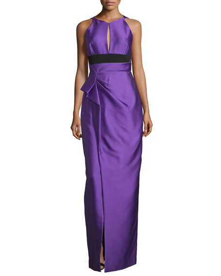 Halter-Neck Two-Tone Gown, Violet