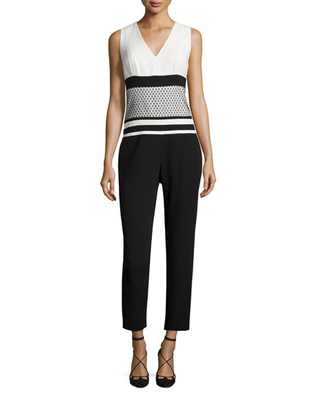 Sleeveless V-Neck Cropped Jumpsuit, Ivoire/Noir