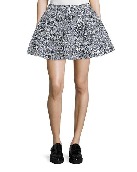 Cabbage-Print Flared Mini Skirt, White/Multi