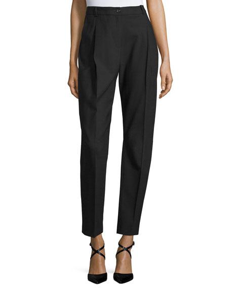 Pleated-Front Straight-Leg Pants, Black