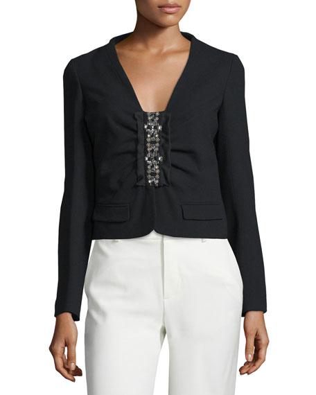 Long-Sleeve Embellished-Front Jacket, Nero