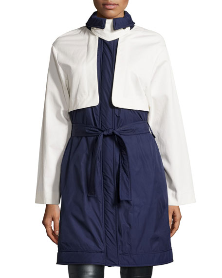 Two-Tone Belted Coat, Blue/White