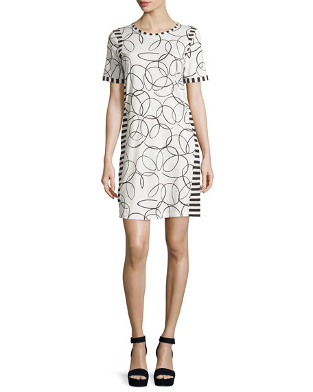 Short-Sleeve Mixed-Print Shift Dress, Black/White