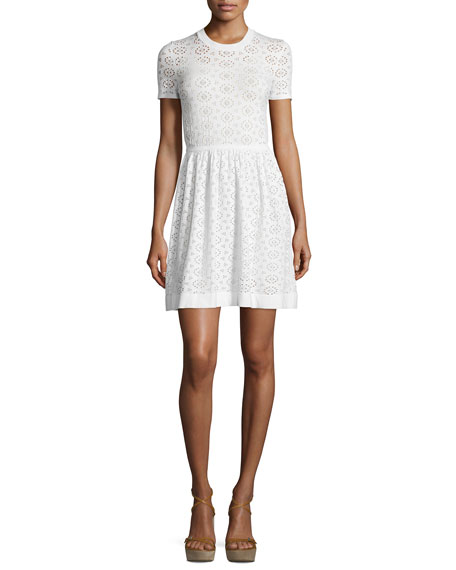 Short-Sleeve Perforated Dress, Ivory