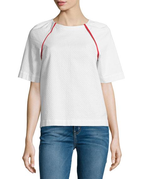 Short Raglan-Sleeve Top, White