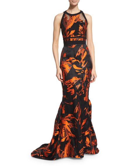 Halter-Neck Two-Tone Gown, Fire/Noir
