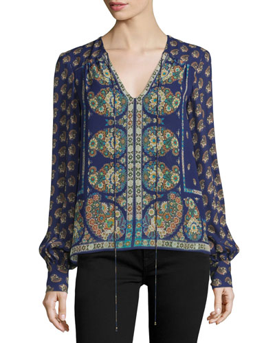 Long-Sleeve Mixed-Print Blouse, Plum/Multi