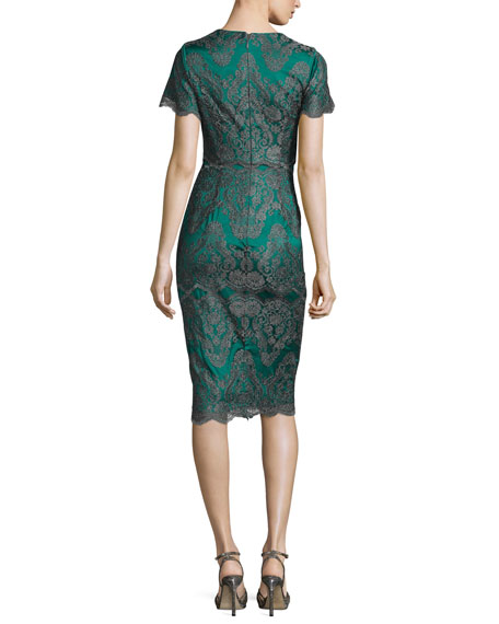 Short-Sleeve Metallic Lace Cocktail Dress, Emerald