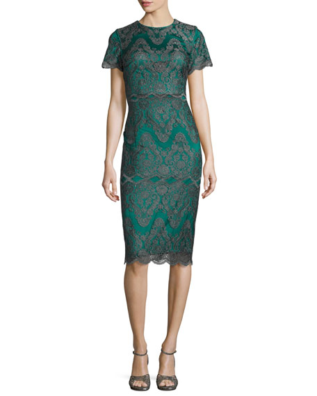 Short-Sleeve Metallic Lace Cocktail Dress, Emerald