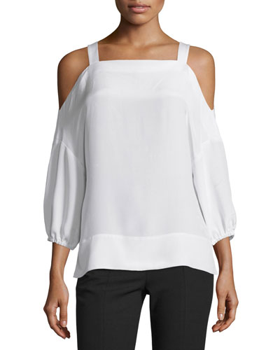 Silk Satin Cold-Shoulder Tunic, Ivory