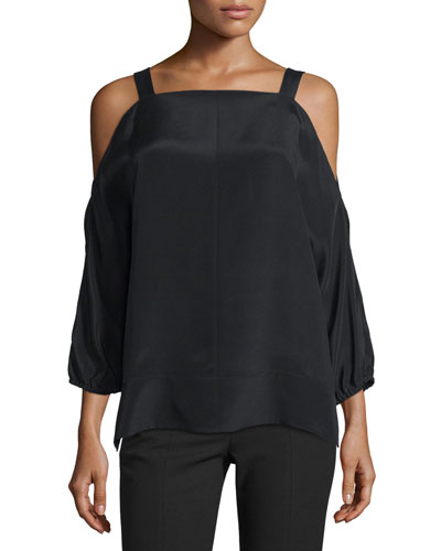 Silk Satin Cold-Shoulder Tunic, Black