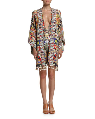 Embellished Silk Kimono Dress w/Belt, Beads of Love