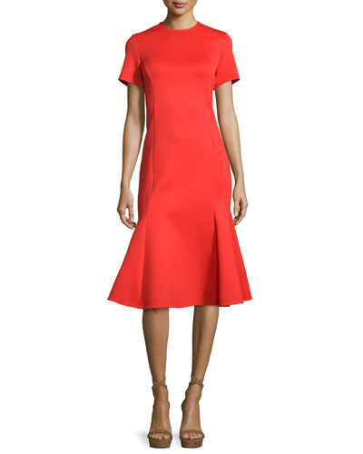 Short-Sleeve Fit-and-Flare Ponte Dress, Flame