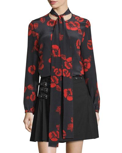 Floral Silk Satin Tie-Neck Blouse, Black/Red