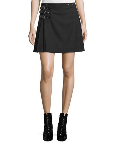 Buckled Pleated A-Line Skirt, Black