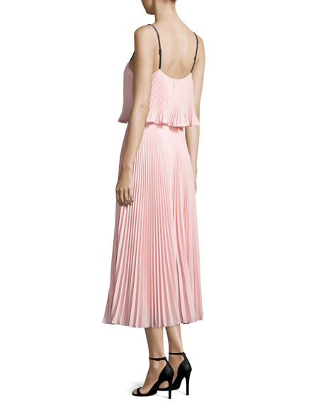 Sleeveless Pleated Popover Midi Dress, Blossom Pink/Black