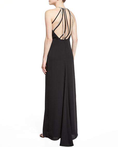Strappy Blouson Column Gown, Black
