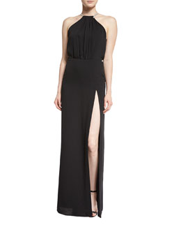 Strappy Blouson Column Gown, Black