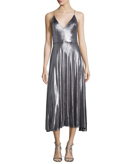 Halston Heritage Sleeveless Metallic Midi Dress, Gunmetal