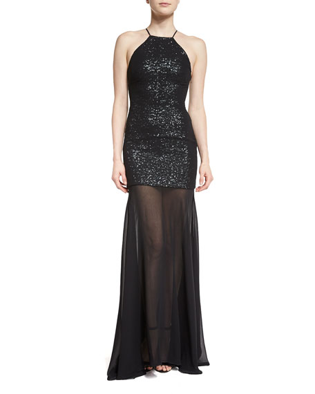 Sleeveless Sequin & Tulle Gown, Black/Gunmetal