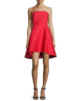 Strapless Structured Cocktail Dress, Scarlet