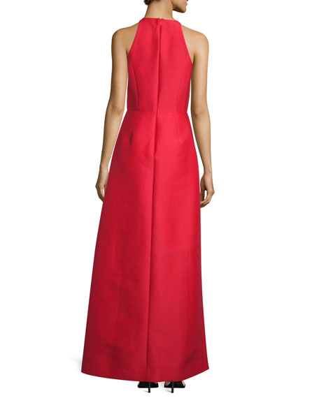 Sleeveless Structured Taffeta Gown, Scarlet