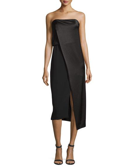 Strapless Draped Satin Cocktail Dress, Black