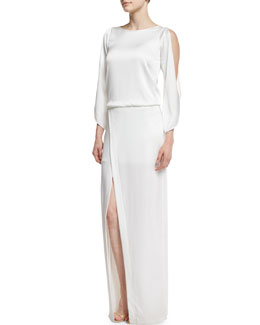 Cold-Shoulder Crepe Column Gown, Winter White