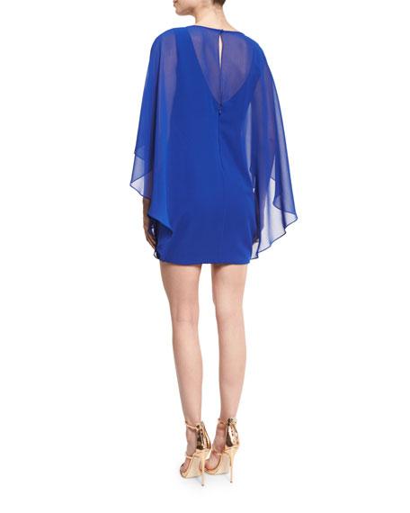 Chiffon-Overlay Shift Dress, Royal