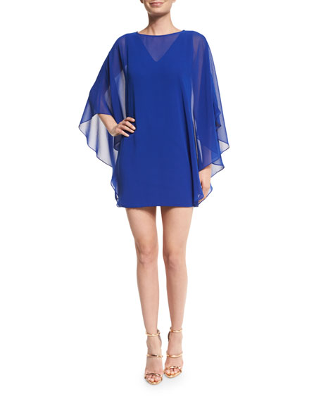Halston Heritage Chiffon-Overlay Shift Dress, Royal