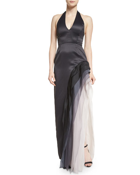 Satin Tiered Ombre Chiffon Halter Gown, Black/Vapor