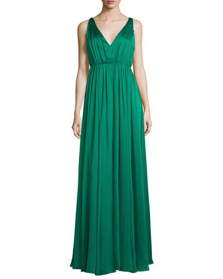 Sleeveless Shirred Chiffon-Overlay Gown, Emerald