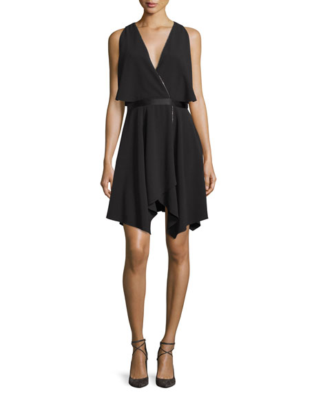 Halston Heritage Cold-Shoulder Cocktail Dress, Black